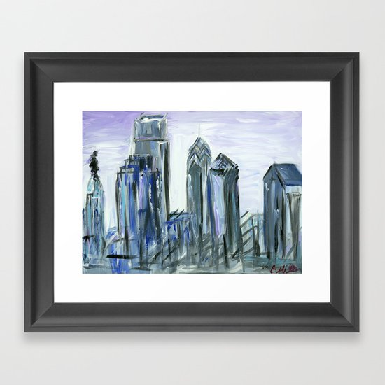Gray Philadelphia Skyline Framed Art Print