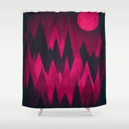 Dark Triangles (Peak Woods) Abstract Grunge Mountains Design (red/black) Shower Curtain