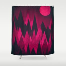 Dark Triangles (Peak Woods) Abstract Grunge Mountains Design (red/black) Shower Curtain