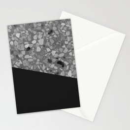 Terrazzo Texture Grey Black #7 Stationery Cards