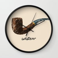 whatever Wall Clocks featuring Whatever by Tobe Fonseca