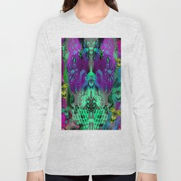 Sugar Skull and Girly Corks (psychedelic, abstract, halftone, op art) Long Sleeve T-shirt