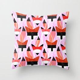 Foxy (pink) Throw Pillow