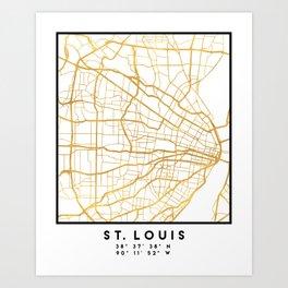 ST. LOUIS MISSOURI CITY STREET MAP ART Art Print