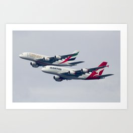 Qantas Emirates Partnership Dual Airbus A380 Flyover Seismic Over Sydney Darling Harbour Art Print