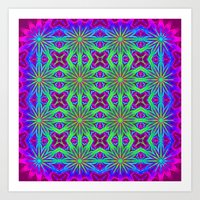 psychedelic art Art Prints featuring PSYCHEDELIC flowers by 2sweet4words Designs
