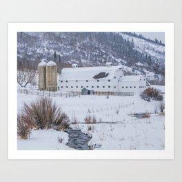 White Barn in Utah Mountains Art Print