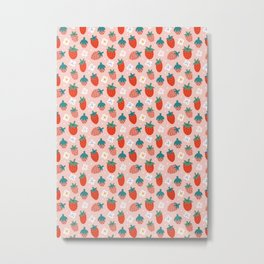 Strawberries Pattern Metal Print