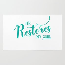 Christian,Bible Quote,He restores my soul Rug