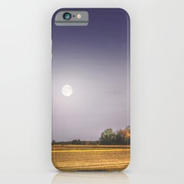 Lonely tree in the field beneath the moon  iPhone Case