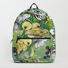 Seamless pattern with watercolor colorful summer ripe currant berries and gooseberries on green background Backpack