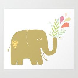 Elephant spouting secrets Art Print