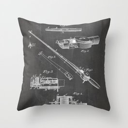Fishing Rod Patent - Fishing Art - Black Chalkboard Throw Pillow