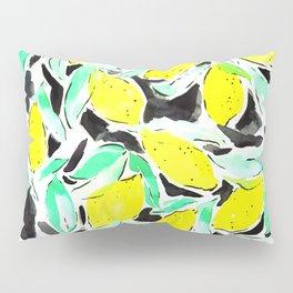 Bold Lemons Black Pillow Sham