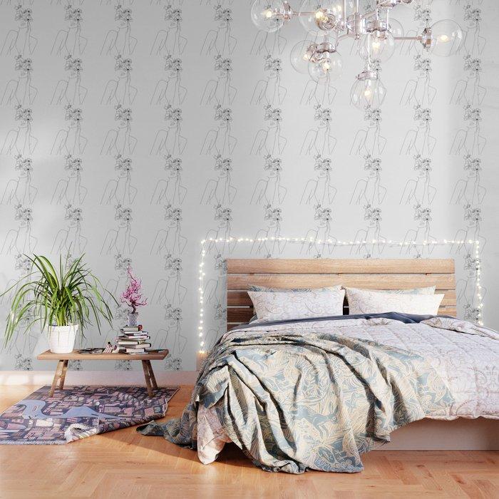 Minimal Line Art Woman with Flowers Wallpaper