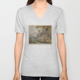 Vintage Illustration of a White Tail Deer (1830) Unisex V-Neck