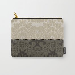 Brown and Tan Faux Linen Damask Carry-All Pouch