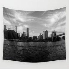 New York Skyline - Black & White Wall Tapestry