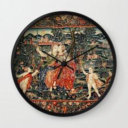 Franco Flemish Allegorical 17th Century Tapestry Print Wall Clock