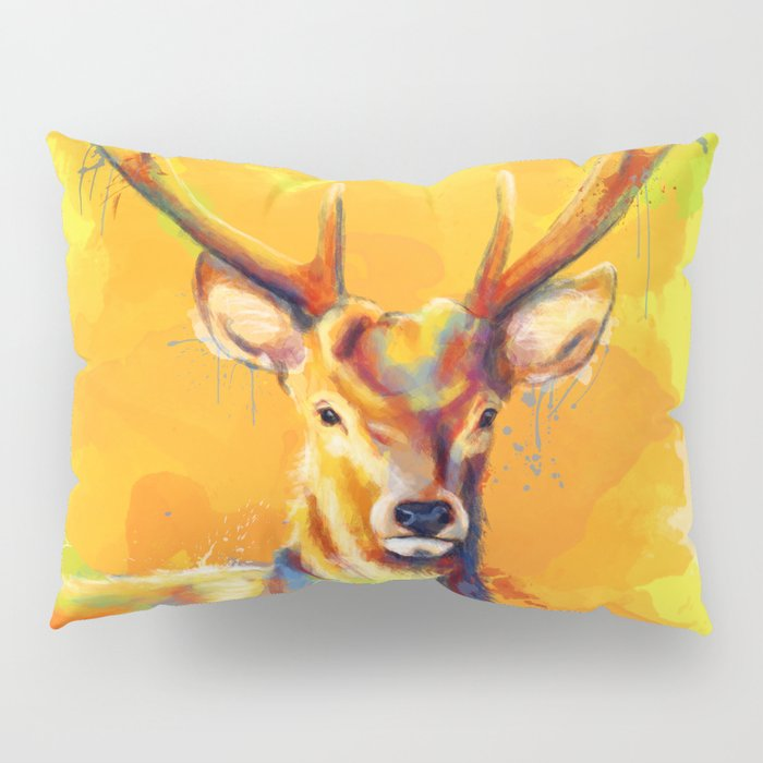 Forest King - Deer painting Pillow Sham
