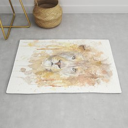 """Watercolor Painting of Picture """"African Lion"""" Rug"""