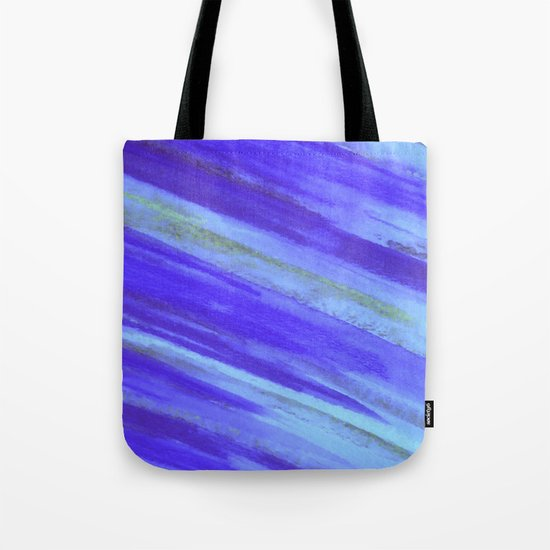 WASHED UP - Bold Blue Stripes Abstract Watercolor Painting Colorful Fun Surfer Ocean Waves Tote Bag