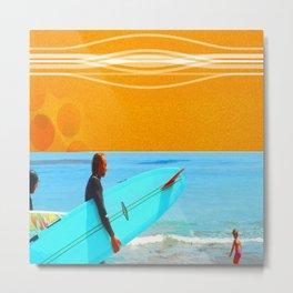 three surfers Metal Print
