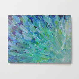 SEA SCALES - Beautiful Ocean Theme Peacock Feathers Mermaid Fins Waves Blue Teal Color Abstract Metal Print