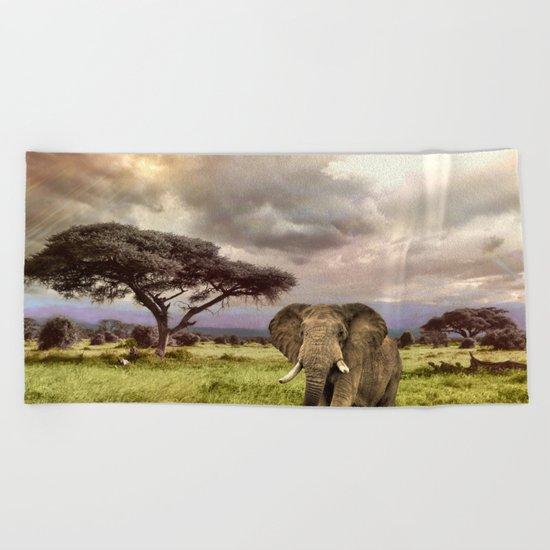 Elephant Landscape Collage Beach Towel