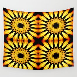 Gold Pinwheel Flowers Wall Tapestry