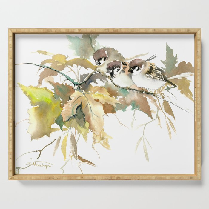 Sparrows and Fall Tree, three birds, brown green fall colors Serving Tray