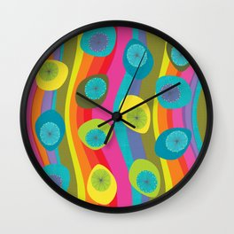 Groovy Retro Waves Wall Clock
