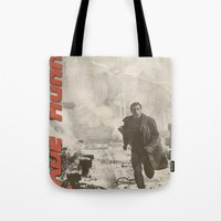 blade runner Tote Bags featuring Blade Runner by JAGraphic