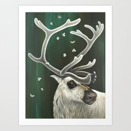 Caribou and Moths Painting | Animal and Insects | Wildlife | Nature Art | Enchanting Art Print