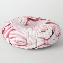 Beautiful bed of pink roses -Floral Rose Flowers Floor Pillow