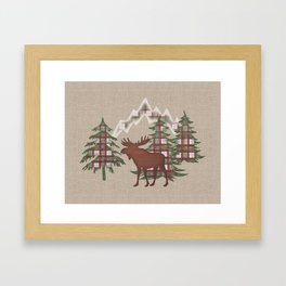 Moose in the Mountains Framed Art Print