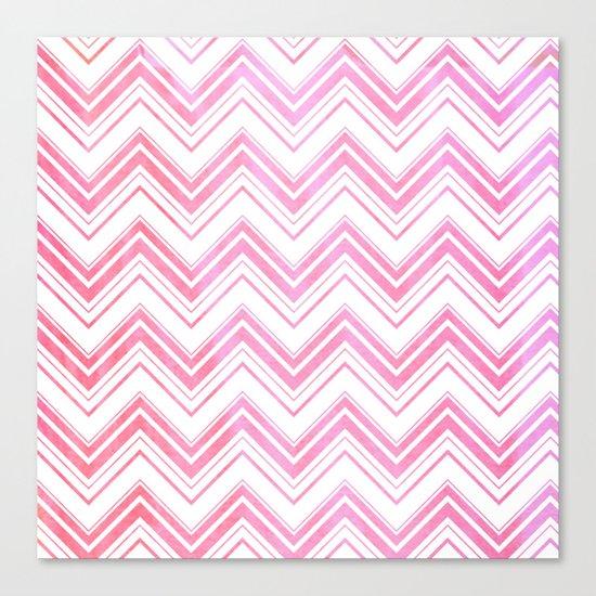 Chevron pattern pink watercolor on white #Society6 Canvas Print