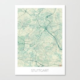 Stuttgart Map Blue Vintage Canvas Print
