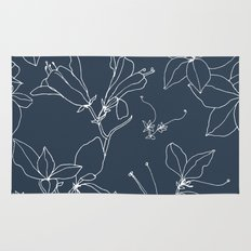 Drawings from Stonecrop Garden, Pattern in Navy Rug