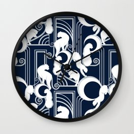 Deco Gatsby Panthers // navy and silver Wall Clock