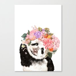 Baby Panda with Flowers Crown Canvas Print