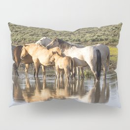 Reflection of a Mustang Family Pillow Sham
