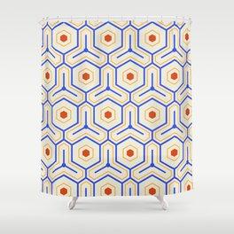 Vintage Hexagon Pattern Shower Curtain