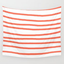 Simply Drawn Stripes in Deep Coral Wall Tapestry
