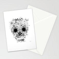 Skull Flowers grey - white Stationery Cards