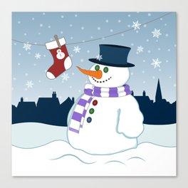 Snowman & Stocking Christmas Scene Canvas Print