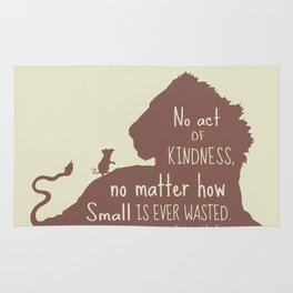 No Act of Kindness, no Matter How Small is Ever Wasted - The Lion and the Mouse Rug