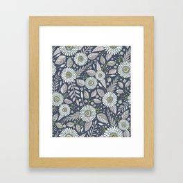 Blue & White Floral Daisy Pattern Framed Art Print