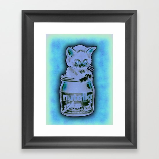 Kitten Loves Nutella Framed Art Print