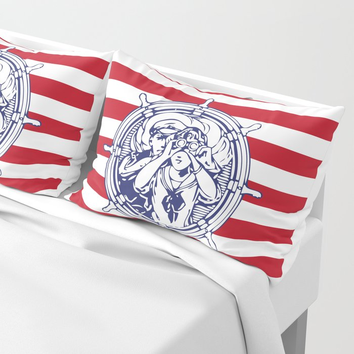 Sail Away With Me | Sailing Couple | Nautical | Red and White Stripes | Pillow Sham